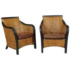 Pair of vintage French rattan armchairs