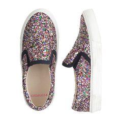 J.Crew - Girls' glitter slip-on sneakers