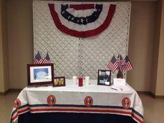 Eagle Scout court of honor award table.  Large burlap mason jars.