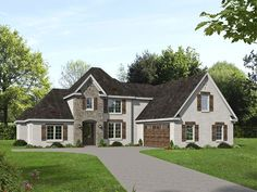 Plan Beautiful Two-Story Home Plan with Optional Outdoor Living Extension - Trend Reupholster Furniture 2019 Two Story House Plans, European House Plans, Family House Plans, Country Style House Plans, Two Story Homes, French Country Style, Duplex House Plans, Luxury House Plans, Pantry Interior