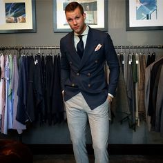 @curtisanewkirk with VBC light grey flannel trousers.