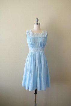 Vintage 1960s Dress Light blue Sundress by Sweetbeefinds on Etsy