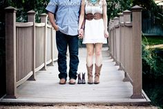 Our pregnancy announcement photoshoot by Amber Nicole Photography (Conroe, TX). MORE boots on the bridge!
