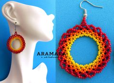Mexican Huichol Beaded Red Round Loop Earrings by Aramara Beaded Flowers Patterns, Beaded Earrings Patterns, Beading Patterns, Native American Earrings, Native Beadwork, Beaded Clutch, Earring Tutorial, Embroidery Jewelry, Mexican Jewelry