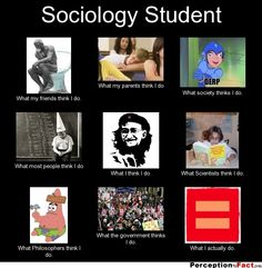 Sociology Student... - What people think I do, what I really do - Perception Vs Fact