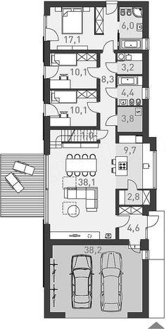 Rzut parteru projektu Ekonomiczny 4A Dream House Plans, House Floor Plans, European House Plans, Arch Interior, Shed Homes, Passive House, Steel Buildings, Planer, Tiny House
