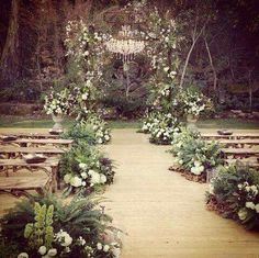 23 Woodland Wedding Aisle Decor Ideas Getting ready to throw a big woodland wedding party? This is a super popular theme for fall and summer weddings, and we know why: enjoy fresh air, aromas, birds singing. Wedding Ceremony Ideas, Wedding Aisle Decorations, Wedding Flower Arrangements, Wedding Centerpieces, Wedding Venues, Wedding Flowers, Outdoor Decorations, Wedding Table, Wedding Ceremonies