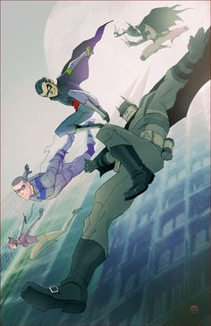 This some pretty cool Bat-Family art! One of the coolest drawing of Nightwing ever.