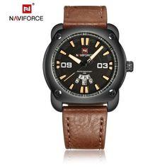 Hight quality brown leather quartz men wristwatch waterproof week display business sport watch military fashion Male large watch