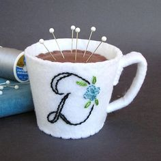 Items similar to Emery Pincushion / Pin Cushion - Felt Cup of Coffee / Hot Chocolate Personalized Monogram on Etsy. , via Etsy. Sewing Hacks, Sewing Crafts, Sewing Projects, Felt Crafts, Diy And Crafts, Kids Play Food, Felt Pincushions, Personalized Chocolate, Needle Book