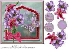 Lilies Fancy Frame Card Front on Craftsuprint designed by Mary MacBean - Decoupage card front with a pretty frame trimmed with colourful lilies and a butterfly. There are 3 sentiment tags including a blank one for your own message.  - Now available for download!