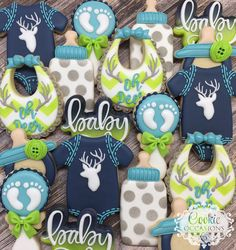 I loved these super cute and fun colors for this Baby Shower. Crazy Cookies, Fancy Cookies, Cute Cookies, Cupcake Cookies, Baby Boy Cookies, Baby Shower Cookies, Iced Sugar Cookies, Baby Shower Desserts, Cute Cupcakes