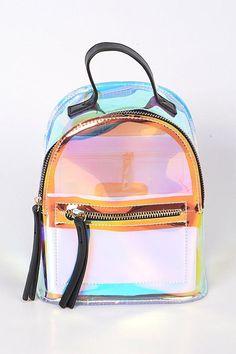 Black Clear Backpack With Zippers Clear Backpacks, Cute Mini Backpacks, Stylish Backpacks, Girl Backpacks, School Backpacks, Cute Purses, Purses And Bags, Cute School Bags, Kawaii Bags