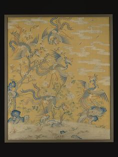 Panel with five phoenixes in a garden. Qing dynasty (1644–1911), from 18th century. Silk Tapestry. The bright yellow background, a color exclusive to the emperor, further confirms its imperial origins. The five phoenixes probably refer to the five species of this auspicious bird in Chinese myths. This piece is paired with another five-phoenix panel in The Met collection, and the set could represent the five ideal relationships (wulun) in Confucianism.