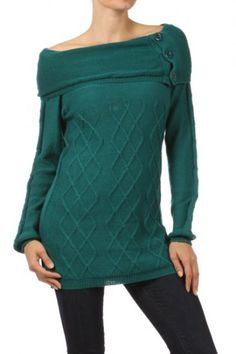 65 percent Acrylic 35 percent Polyester 1S/2M/2L/1XL Per Pack Teal, Beige, Black, Red, Purple, Salmon This HIGH QUALITY top is VERY NICE!! Made from a very soft and comfy fabric, this cute textured knit top with button trim and a boat neckline is hand washable, and fits true to size.