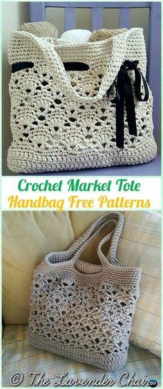 Mercado de ganchillo bolso de mano del patrón libre - #Crochet bolso de Patrones gratis #crochetstitches