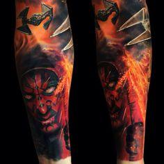 ⚡️⚡️Darth maul🔥💀🔥Star Wars 🚀, machines by Nerdy Tattoos, Top Tattoos, Life Tattoos, Sleeve Tattoos, Color Tattoos, Tattos, Darth Maul Tattoo, Stormtrooper Tattoo, Tatto Unique