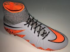SR4U Black Reflective Soccer Laces on Nike Hypervenom Phantom 2