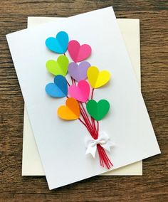 Birthday Card /Rainbow Hearts Handmade Wedding Cards / Blank Valentine Greeting Card / Note Card