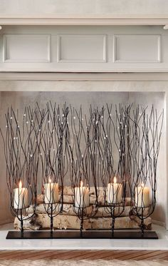 9 Outstanding Tips: Fireplace Mantle Black corner fireplace design.Fixer Upper Fireplace In Middle Of Room faux fireplace tile.Fireplace With Tv Above Furniture Arrangement. Faux Foyer, Candles In Fireplace, Fireplace Candle Holder, Fireplace Ideas, Fireplace Design, Fireplace Grate, Fireplace Decorations, Decorate Fireplace Mantles, Faux Fireplace Insert