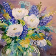 Abstract Impressionist Flowers Acrylic Painting Tutorial by Angela Anderson on YouTube #floral #painting #purple #art #flowers
