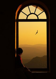 I picture this as one of the windows in the Atrium......looking over the valley and watching the sun set.