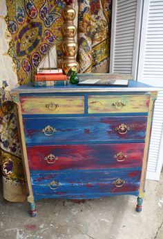 Dresser BoHo Arty Chest of Drawers Hand Painted Vintage Poppy Cottage. $475.00, via Etsy.