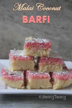 Double Decker Malai Coconut Barfi Recipe – Easy Diwali Recipes Read Recipe by Indian Dessert Recipes, Indian Sweets, Sweets Recipes, Snack Recipes, Diwali Recipes, Indian Recipes, Snacks, Ethnic Recipes, Coconut Barfi Recipe