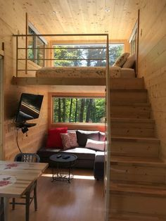 Tiny House Loft, Best Tiny House, Modern Tiny House, Tiny House Living, Tiny House Design, Tiny House Office, Loft House Design, Tiny House Bedroom, Building A Tiny House