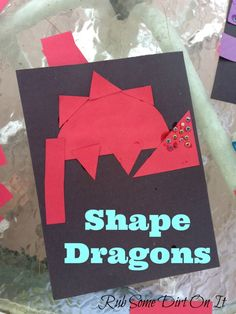 Shape Dragons @ Rub Some Dirt On It. Use different kinds and sizes of geometric shapes to create dragons. Plus a great book recommendation!