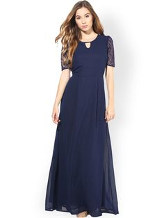 10f9162c22 Buy La Zoire Navy Lace Maxi Dress - Dresses for Women 996088
