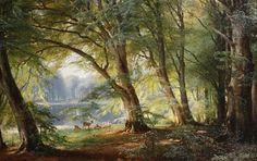 The Athenaeum -  Deer beside a Lake;  Carl Frederik Peder Aagaard - 1888;   Private collection;   Painting - oil on canvas;   Height: 52.5 cm (20.67 in.), Width: 81.5 cm (32.09 in.)