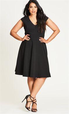 City Chic Trendy Plus Size Cap-Sleeve Fit & Flare Dress - Black Dresses For Teens, Plus Size Dresses, Dresses Dresses, Curvy Fashion, Plus Size Fashion, Chevron Dress, Review Dresses, Chic Dress, City Chic