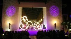 The fire show at Dreams Riviera Cancun resort in Mexico