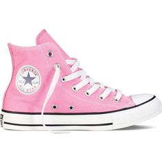 Converse Chuck Taylor Core Hi Athletic (£39) ❤ liked on Polyvore featuring shoes, sneakers, converse, pink, star sneakers, converse trainers, converse sneakers, pink shoes and star shoes