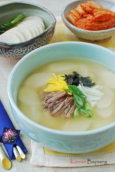 ddeokgook basically with rice cake... it is so good we eat this on Lunar New Year's Day 떡국