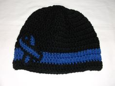 Hand Crocheted Thin Blue Line Beanie Style Crocheted Hat with Thin Blue Line Awareness Ribbon Pin