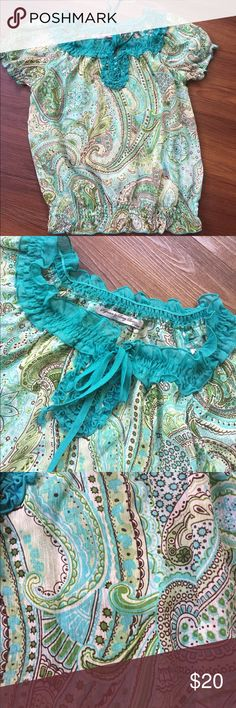 "Signature by Larry Levine Paisley design pattern. Great blues & green colors. 18"" across bust. 21"" from top to bottom Larry Levine Tops Blouses"