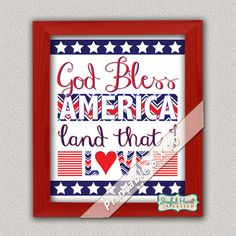 God Bless America sign 4th of July printable Patriotic decor with red, white and blue chevron; and stars and stripes by JoyfulHeartDesign, $5.00