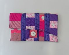 Clutch, Handbag, Freestyle Patchwork Quilting, Pink and Purple £25.00