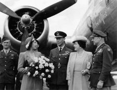 Princess Elizabeth, King George VI, and Queen Elizabeth of the United Kingdom and LtGen Jimmy Doolittle beside the B-17G 'Rose of York' after the bomber's christening in honor of the Princess, RAF Thurleigh, 6 Jul 1944