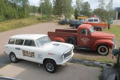 Gasser Rambler 1959 and International PickUp 1949 Antique Cars, Monster Trucks, American, Antiques, Vehicles, Antiquities, Rolling Stock, Antique, Vintage Cars