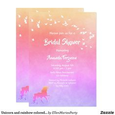 Unicorn and rainbow colored Bridal Shower Invitation Bridal Shower Cards, Bridal Shower Invitations, Custom Invitations, Invitation Cards, Unicorn Wedding, Pastel Background, White Letters, Wedding Stationary, Save The Date Cards