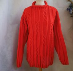 Hand knitted Red Aran cable jumper sweater Fishermans Roll Neck by bexknitwear  #Bexknitwear #Jumpers