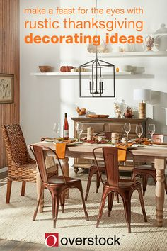 One of the most important parts of setting the mood for a Thanksgiving celebration is the festive decorations. The warmth and coziness of a rustic retreat is the perfect complement to a Thanksgiving gathering. With a few decorative essentials like candles, a centerpiece, and coordinating dinnerware you can create a cozy, rustic Thanksgiving table that will let your favorite family dishes shine.
