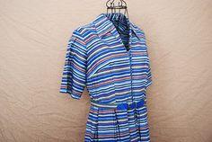 vintage 50s Dress  Blue River Stripe Day Dress Sz M by jessamity, $53.00