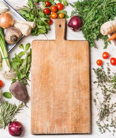 Cutting board and vegetables by VICUSCHKA on @creativemarket