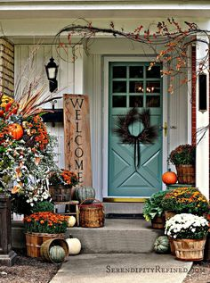 Fall Autumn Porch Decorating Idea Welcome Sign Mums Pumpkins Orange Turquoise White