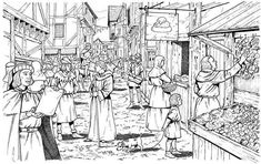 Medieval Market, Medieval Party, Medieval World, Medieval Castle, Colouring Pages, Coloring Books, Adult Coloring, Coloring Sheets, Castle Drawing