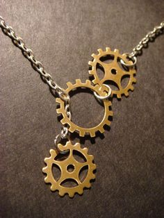 Steampunk Gear  and Cog Lariat Style Necklace